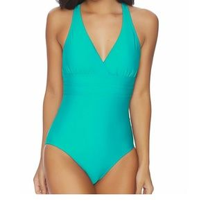 Athena Criss Cross Teal One Piece Bathing Suit, 10